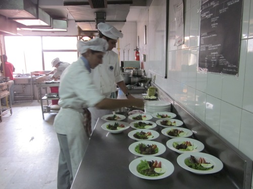 Salads being plated