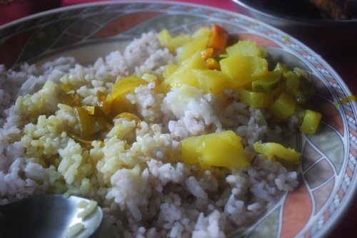 Rice and boiled veggies