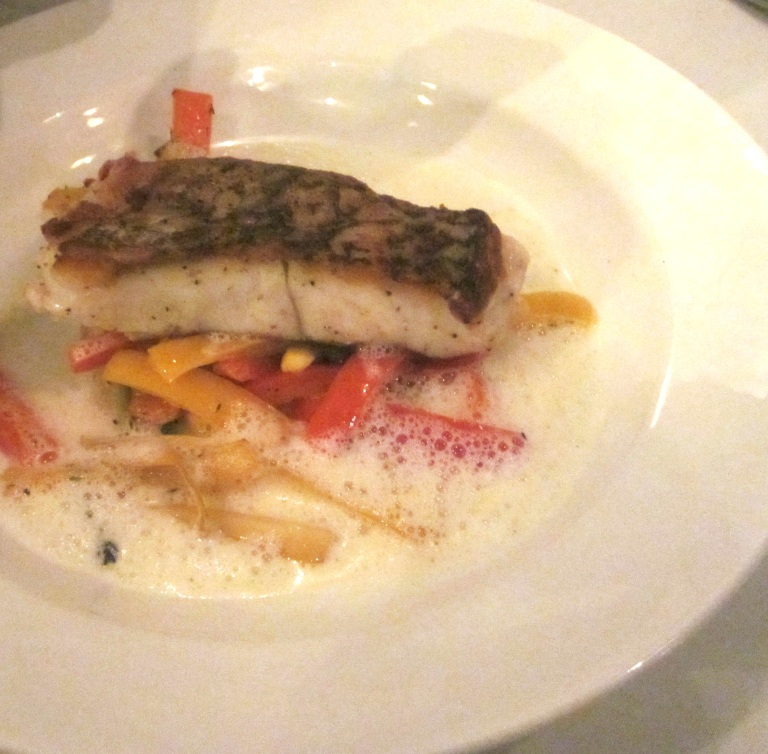 Pan fried red snapper, ratatouille vegetables, lemon foam