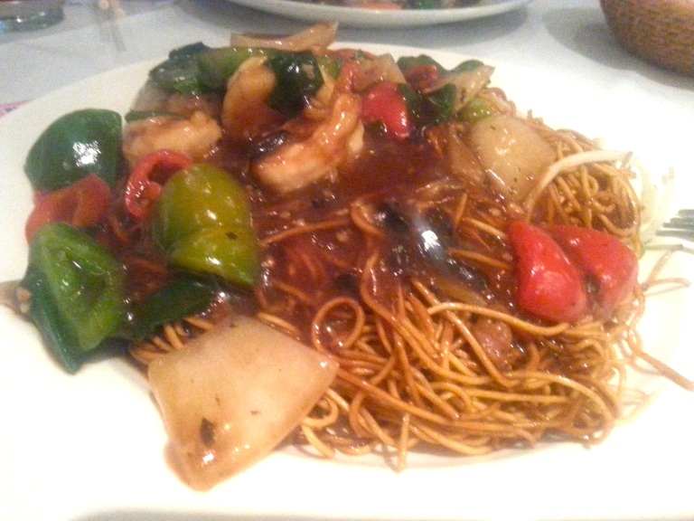 93. Noodles in black bean sauce with prawns