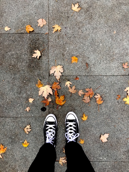 Fall leaves with shoes