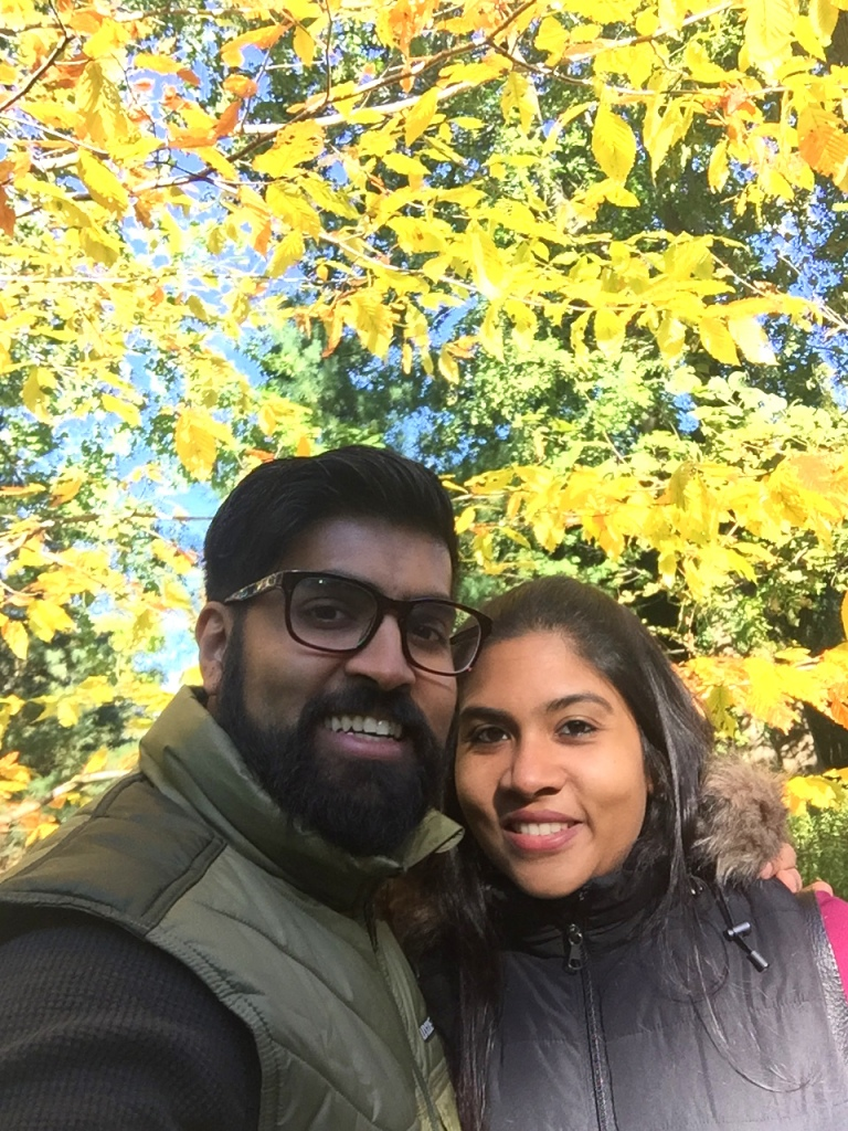 Us with a yellow tree